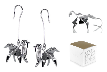 Origami jewellery - Boucles d'oreille cheval argent